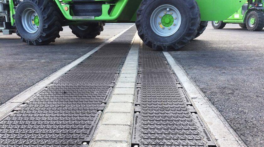 Drehende Räder erzeugen dynamische Kräfte auf Entwässerungsrinne