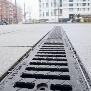 Entwässerungsrinne im Europaviertel in Frankfurt