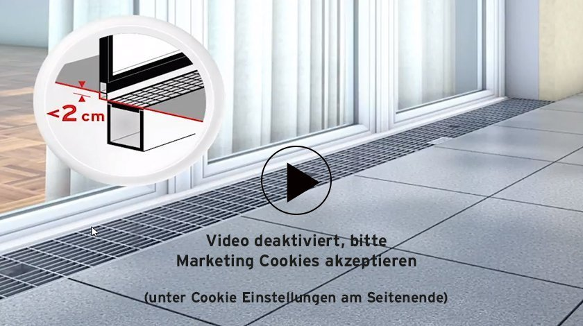 Video über barrierefreie und schwellenlose Fassadenentwässerung