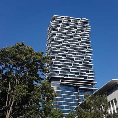 Das ausgeklügelte Fassadensystem des One Forty West Hochhauses