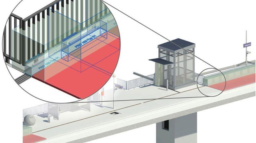 Platzhalter für den Einbau- und Wartungsbereich bei einem Bahnhof
