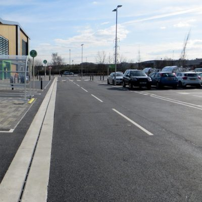 High capacity drainage channel at Asda Superstore