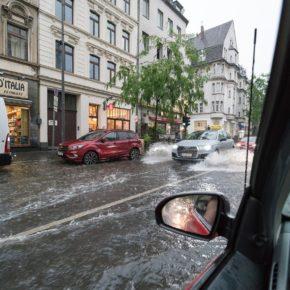 Überschwemmung einer Straße